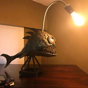 Rustic Iron Cast Angler Fish Table Lamp Night Lights for Bar Decor Luminaire