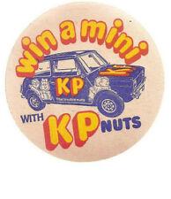 1978 KP NUTS 'WIN A MINI' VINTAGE BEERMAT:MINI CAR ON THE BEERMAT