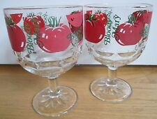 Bloody Mary Stemmed Goblets Bright Red Tomatoes Vintage Barware ~ Set of 2