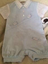 BUY NOW LAST 1 Sarah Louis Baby Boy's Blue/White Check Romper Suit age 3 Months