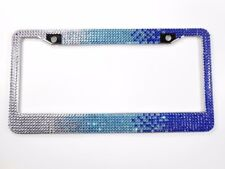 Blue Ombre Rhinestone License Plate Frame W/Screw Cap Cover, Crystal Bling Frame