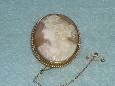 Large Antique 18ct. GOLD CARVED SHELL CAMEO BROOCH BACCHANTE PRIESTESS CLASSICAL