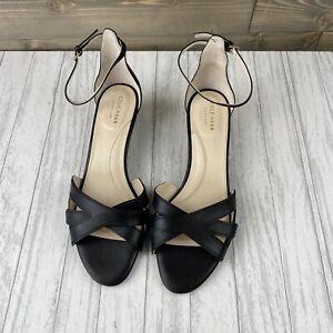 Cole Haan Women's Sandal Hana Grand Low Wedge Black Leather Open Toe Size 10B