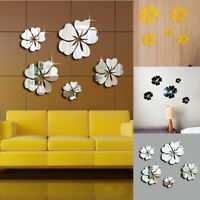 DIY Adhesivo de Pared Extraíble Salón Decoración Espejo Flores