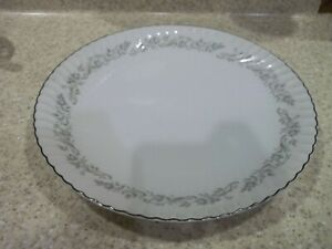 "Mikasa Monte Carlo 12 1/4"" Round Platter Chop Plate Blue Gray Flowers Silver"