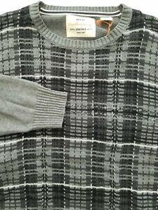 Weatheproof Vintage Mens XL Dark Gray Plaid Crew Neck Sweater