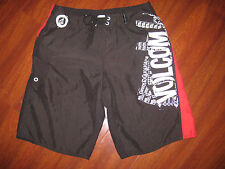 Volcom Black Red White  Swim Shorts Surf Board Size 32 Broken Zipper