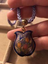 Vintage Puffy Cloisonne Pendant Necklace Flower Purple Chord
