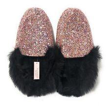 Victoria's Secret Glitter Slippers Faux Fur Trim Pink Multicolor