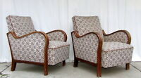 Pair of Art Deco Armchairs. Club Cocktail Chairs. Antique Vintage Halabala.