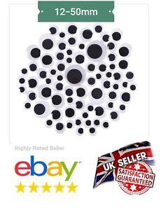 """BIG"""" 12/15/18/20/30/35/40/50mm STICKER'S  WOBBLY EYES  GOOGLY EYES  UK SELLER"""