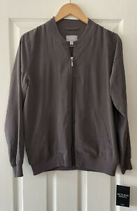PURE COLLECTION GREY 100% SILK BOMBER JACKET TOP UK 12 NEW