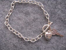 Elegant Heart and Key Charm Bracelet Sterling Silver Link Chain Designer Jewelry