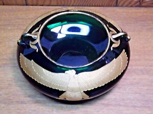 Antique Green Glass Bowl A La Paix Paris Avenure de l'Opera Gold Phoenix On Side