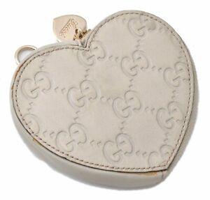 Authentic GUCCI Guccissima Leather Heart Motif Coin Case 152615 White D6520