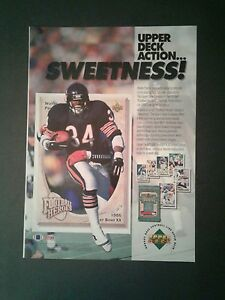 1992 Walter Payton Bears Football Upper Deck Sports Cards Memorabilia Promo Ad