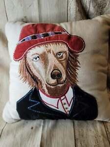 Pier 1 Velvet/Embroidered Dog Pillow