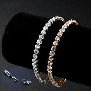 Sterling Silver Gold Tennis Bracelet AAA Round Brilliant 3mm Cubic Zirconia Gems