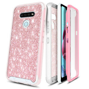 For LG K51 / LG Reflect Case Bling Glitter Built-In Screen Protector Phone Cover