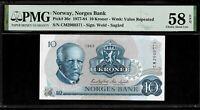 Norway 10 Kroner 1977 - 84 PMG 58 EPQ P#36c