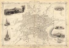 Vintage Antique Edinburgh Scotland decorative map Tallis ca. 1851