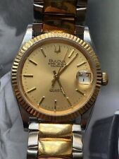 VINTAGE BULOVA SUPER SEVILLE Stainless steel all MEN'S WATCH. GOLD PLATED.
