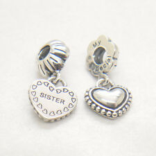 Authentic Silver Hanging My Special Sister Heart Bead Fashion Charms