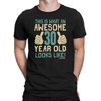 Mens 30th BIRTHDAY T-Shirt Organic Cotton AWESOME 30 Years Old Joke Gift Thirty