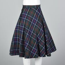 XS Vintage 1970s 70s Winter Skirt Separates Flare Navy Red Plaid Classic Preppy