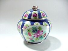 LOT #2: ESTATE FIND: GINGER JAR WITH COVER:  HAND PAINTED FLORALS
