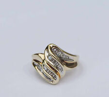 Ribbon Genuine Baguette Diamond Cluster Ring w/ 32 Diamonds - 10k Yellow Gold