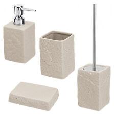 Set di accessori da bagno d'appoggio in ceramica beige e inox serie Petra