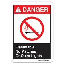 Ansi Danger Sign - Flammable No Matches Or Open Lights | �Made in the Usa