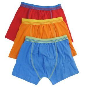 Boys Kids 3 Pack Boxer Trunks Tom Franks Blue Orange Red 95% Cotton 5% Elastane
