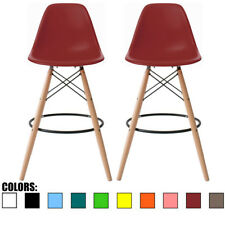 """Set of Two (2) Red 25"""" Seat Height Bar Chair DSW Molded Plastic Barstool Modern"""