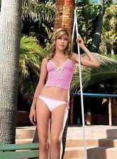 Tankini Pink Bikini Vest Top Bottoms Polka Dot Set M L 10 12 Leg Avenue Spotty