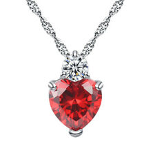 Classic Luxury Rhinestones Pen Rd Crystal Heart Necklace For Women Romantic
