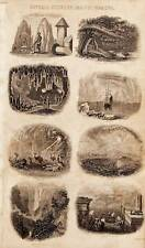 Antica STAMPA INCISIONE 1859 Oliver Goldsmith paesaggio naturale e fenomeni