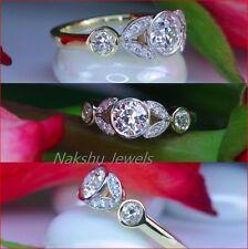 Set Engagement Ring 925 Sterling Silver 2Ct White Round Moissanite Unique Bezel