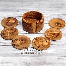 Sale! Handcrafted Olive Wood Set of 6 Drink Coasters with Container