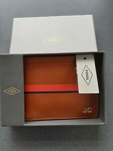 FOSSIL Quality Mens Leather Wallet Tan  Personalised with J C initials BNWT