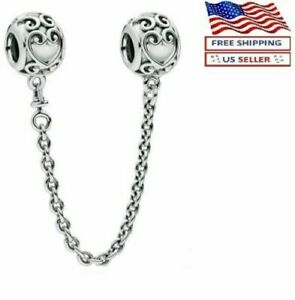 New Authentic PANDORA Sterling Silver S925 ALE Ornate Hearts Safety Chain Charm