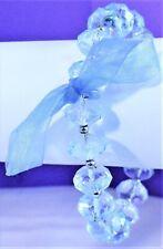 Vintage Bridal Bow Baby Blue Faceted Plastic Beads Rubber Stretch Bracelet