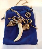 NEW AUTHENTIC TORY BURCH Charm Pendant HEIRLOOM Necklace  W/TB Pouch  -RV $295
