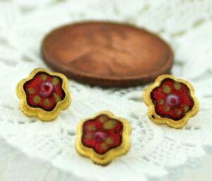 Set of 3 Antique Gold Diminutive Size Cranberry Red Enamel Pink Rose Buttons