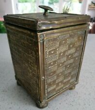 Vintage Brass & Wood Tea Caddy / Canister / Storage Pot