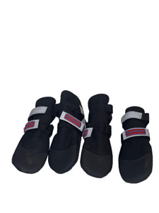 Barkbrite Antislip Dog Boots Booties Shoes Black Reflective Neoprene Sz M Lot 4