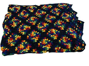 Vintage granny square afghan sofa throw bed cover black multi color 86 x 60