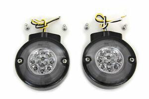 Black LED Turn Signal Set Front for Harley Davidson by V-Twin