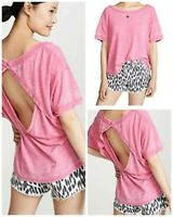 Free People Top Hot Magenta Viola Large Open Back T-Shirt Short Sleeve NWT $58